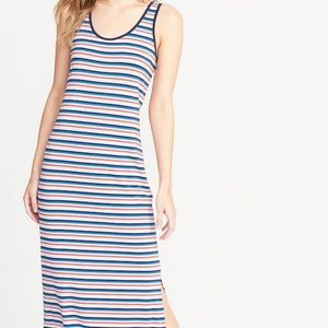 Old Navy fitted midi striped tank dress